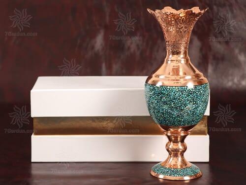 هدیه رسمی صنایع دستی ایرانی سنبلدان فیروزه کوبی با جعبه مقوایی زیبا