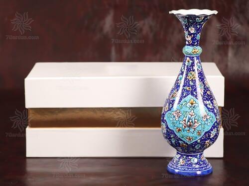 خرید هدیه خاص و رسمی تک گلدان میناکاری در جعبه مقوایی شکیل