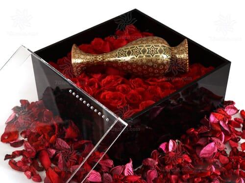ست گلدان تمام خاتم کاری با جعبه گل سایز 25*25