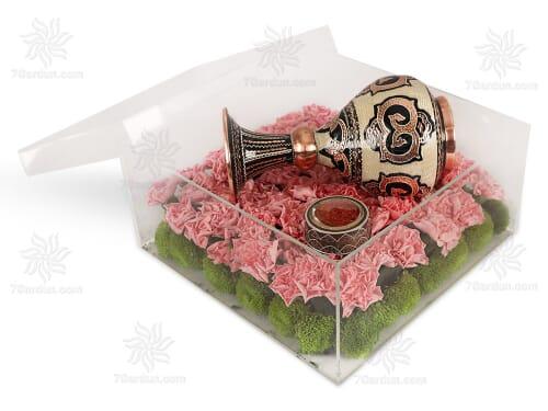 ست گلدان حکاکی روی مس با جعبه گل سایز 25*25