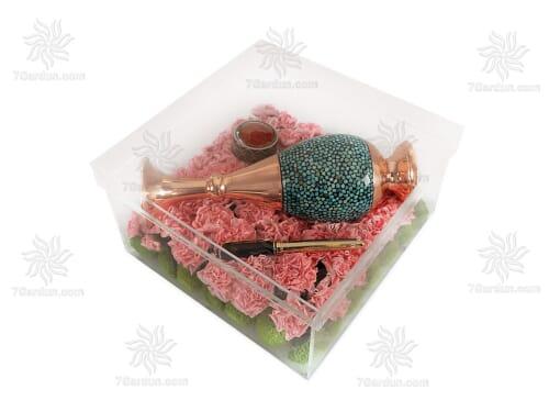 ست گلدان صراحی فیروزه کوبی با جعبه گل سایز 25*25
