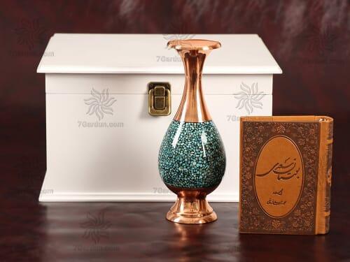 ست گلدان صراحی فیروزه کوبی با جعبه چوبی سایز 25*25