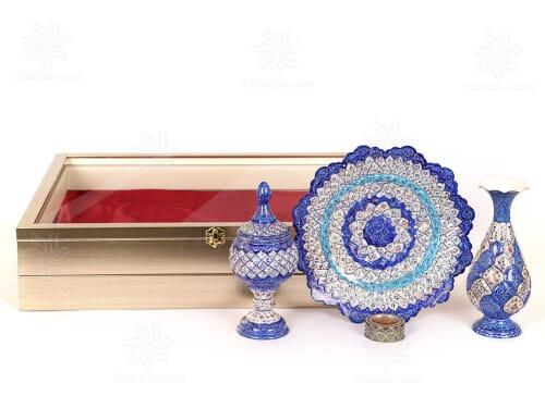 خرید هدایای خاص ایرانی شامل گلدان بشقاب و شکلات خوری میناکاری همراه زعفران اعلاء در جعبه شکیل PVC دکوراتیو
