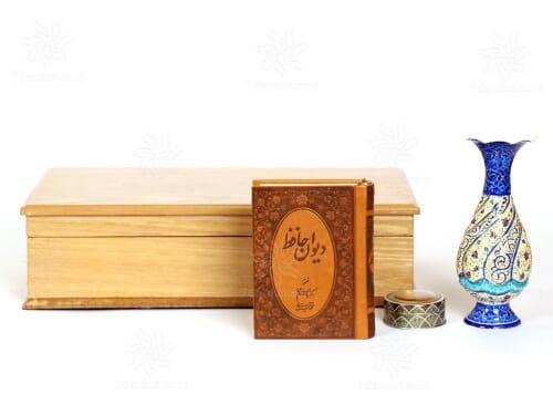 ست گلدان مینا کاری با جعبه چوب سایز 15*33