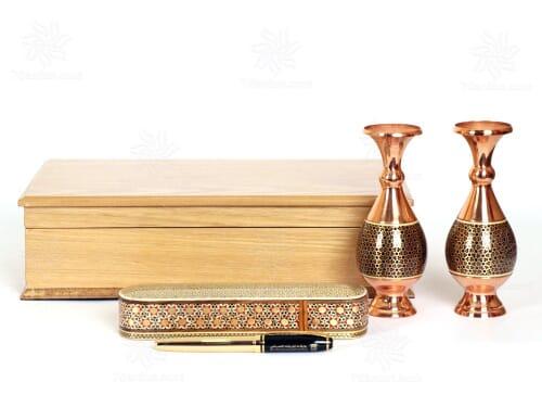 ست گلدان صراحی و قلمدان خاتم کاری با جعبه چوب سایز 15*33
