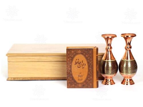 ست گلدان صراحی خاتم کاری با جعبه چوب سایز 15*33