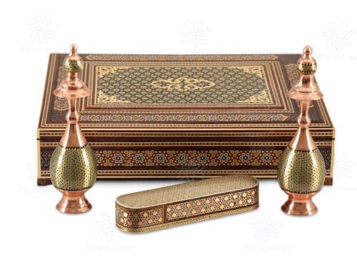 ست صنایع دستی مس و خاتم با جعبه نفیس مناسب هدایای خاص و تبلیغاتی