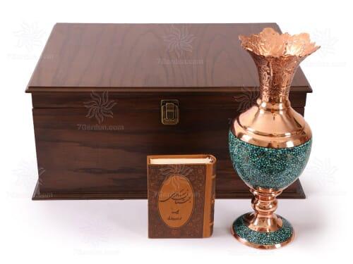 هدایای تبلیغاتی خاص سنبلدان فیروزه کوبی همراه جعبه نفیس چوبی