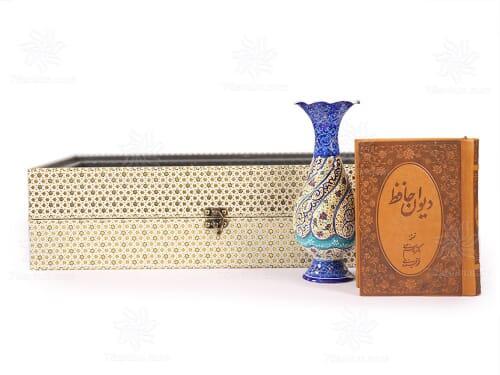 گلدان میناکاری و کتاب چرم مخصوص هدایای مناسبتی مزین به جعبه طرح خاتم pvc